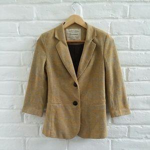 Anthro CARTONNIER 3/4 Sleeve Tan Blazer Jacket S